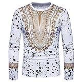 ManYFas Herbst-Mode for Männer Kreative Ethnischen Blumenblumen-3D Printing Langarm-T-Shirt beiläufigen (Farbe : Weiß, Size : M)