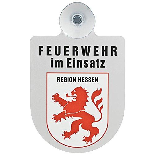Feuerwehr im Einsatz KFZ Aluschild mit Saugnapf und Bundesland Wappen (Hessen)