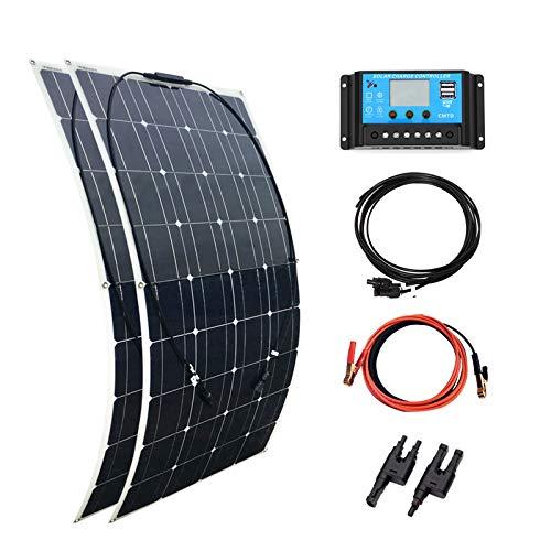 YUANFENGPOWER 200w 12 v Solarpanel Kit 2 stücke 100 Watt 18v Flexible Solarmodul 20A Solar Laderegler für Wohnmobil, Auto, RV, Boot, Wohnwagen, Hause Dach 12 v Ladegerät (200)