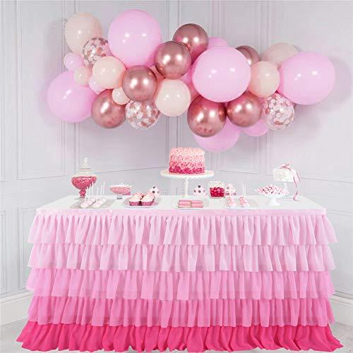 ETbotu decoratie bruiloft - rekwisieten bruiloft - 5 lagen kleurverloop roze chiffon wave tafel rok voor bruiloft party supplies