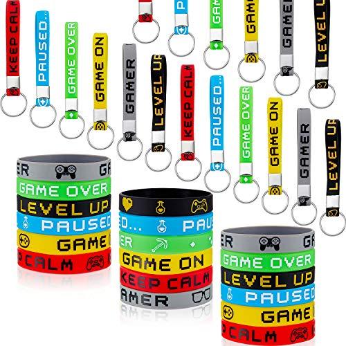 36ピース ビデオゲームブレスレットとキーチェーン ゴム製リストバンドとキーチェーン ゲーマー 誕生日パーティー ベビーシャワーパーティーの記念品 6スタイル