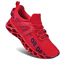 top rated UMYOGO Sports Running Shoes Mesh Breathable Trail Runner Fashion Trainer Red 2021