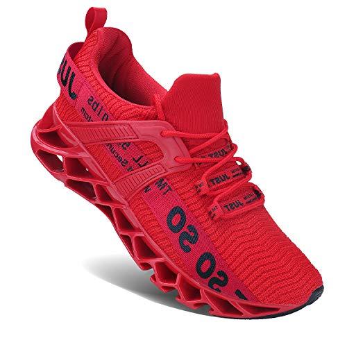 Wonesion Herren Fitness Laufschuhe Atmungsaktiv rutschfeste Mode Sneaker Sportschuhe,5 Rot,44 EU