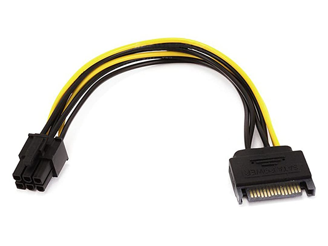 Monoprice 108494 SATA 8-Inch 15-Pin to 6-Pin PCI Express Card Power Cable