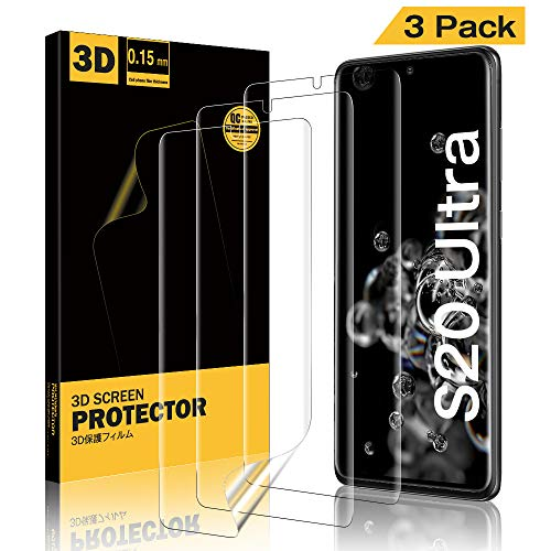 A-VIDET 3 Piezas Protector Pantalla para Samsung Galaxy S20 Ultra,High Definition Claridad Film Prima Extremadamente Clara para Samsung Galaxy S20 Ultra