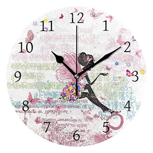 Ahomy Mädchen Schmetterling Buchstaben Zahlen Wanduhr 24cm Runde Uhr leise nicht tickend Batteriebetrieben Leicht zu lesen für Home Office Schule