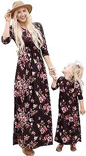 9284da47860b1 douleway Famille Mère Fille Robes Florale Décontractée Longue Robe de soirée  Cocktail Familles Assortie