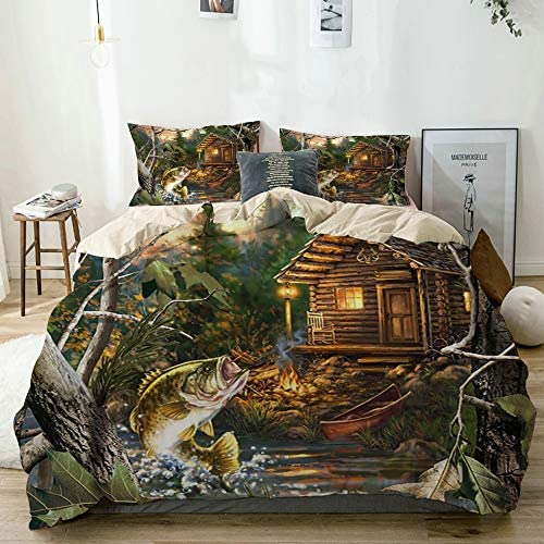 WINCAN Decorative Duvet Cover Wooden Cabin Farmhouse Bass Fish with Wooden Cabin Soft Brushed product image