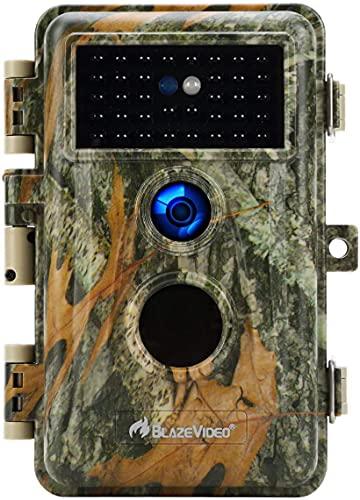 BlazeVideo 24MP Wildkamera Nachtsichtkamera Wildtier Kamera mit 1296P H.264 MPV Video, Bewegungmelder Nachtsicht Zeittraffer, IP66 Wasserdicht und 2,4' Bildschirm