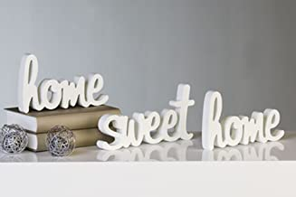 "Dekora - Decorazione ""Home Sweet Home"", 3 pz, in legno, colore: Bianco"