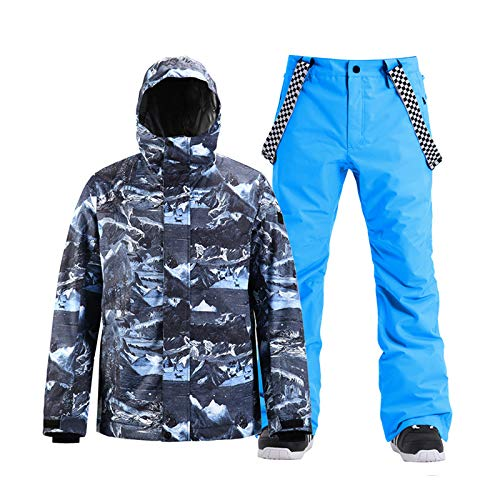 Men's Jacket and Trousers Set Snowproof Ski Outfit Waterproof, Windproof and Warm Integrated Snowskirt - Best for Winter Snowboarding,Blue,L