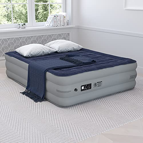 Flash Furniture 18 inch Air Mattress with ETL Certified Internal Electric Pump and Carrying Case - Queen