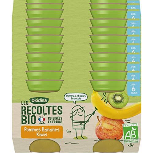 Blédina - Les Récoltes Bio - 24 petits pots pour bébé - Pommes Bananes Kiwi dès 6 mois (Pack de 12x2 pots)