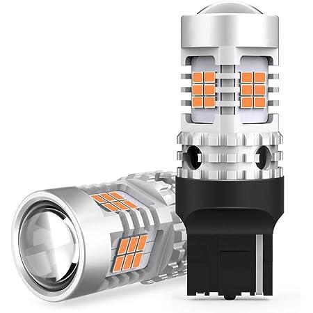 OXILAM T20シングル, LED ウインカー アンバー キャンセラー内臓 7440 ハイフラ防止 ウインカーバルブ 超拡散レンズ26連付き コーナリングランプ 航空用アルミヒートシンク ほぼ純正サイズ コーナリング ランプ DC12V車用 3020SMD 無極性 18ヶ月保証 2個入