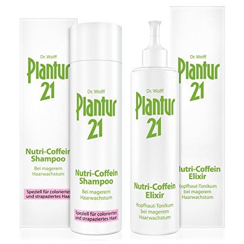 Plantur 21 Nutri-Coffein Shampoo & Nutri-Coffein-Elixir – Shampoo und Haarwasser zur Pflege und Verbesserung des Haarwachstums – silikonfrei – 1 x 250 ml / 1 x 200 ml