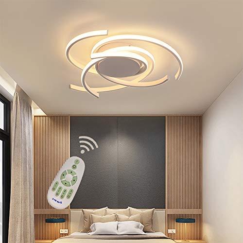 LED Wohnzimmerlampe Deckenleuchte Dimmbar Esszimmer Schlafzimmer Lampen mit Fernbedienung, Chic Art Design Metall Acryl-schirm Deckenlampe/Kronleuchter für Küche Bad Flur Deko Leuchten Weiß Ø75*H10cm