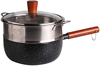 Black Snow Pan Aluminum Alloy Wooden Handle Small With Steamer Multi-function Cooking Noodle Milk Pot Soup Home Fire Direct Gas Induction Cooker Universal (Size : 201716cm)