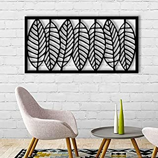 Lasaani Leaves Set ACP Wall Plaque Painted Cutout stickable Home Decor Wall Art (Glossy Black)