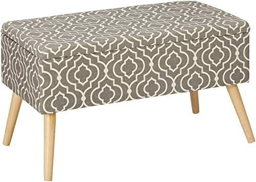 "Otto & Ben 30"" Storage Bench - Mid Century Ottoman with Easy Lift Top, Upholstered Shoe Ottomans Seats for Entryway and Bedroom, Moroccan Grey"