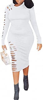 Remelon Women Solid Color Long Sleeve Hollow Out Ripped Bodycon T Shirt Pencil Midi Long Dress
