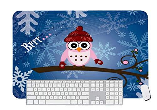 Alfombrilla de ratón para videojuegos, diseño de búho rosa, copo de nieve para computadora y portátil, 1 paquete de 600 x 400 x 3 mm
