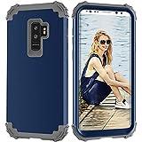 Funda protectora 3 en 1 PC+TPU resistente híbrido Armadura de alto impacto a prueba de golpes para Samsung Galaxy S9 Plus (color azul marino y gris)