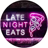 ADVPRO Late Night Eats Pizza Café Restaurant Display Open Dual Color LED Neon Sign White & Purple 16 x 12 Inches st6s43-i3621-wp