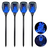 EOYIZW Solar Tiki Torches with Flickering Flame, 4 Pack Premium 99 LEDs Solar Flame Torch- IP65 Waterproof Solar Flame Lights Garden Pathway Lights Decoration Outdoor for Yard Patio Driveway-Blue
