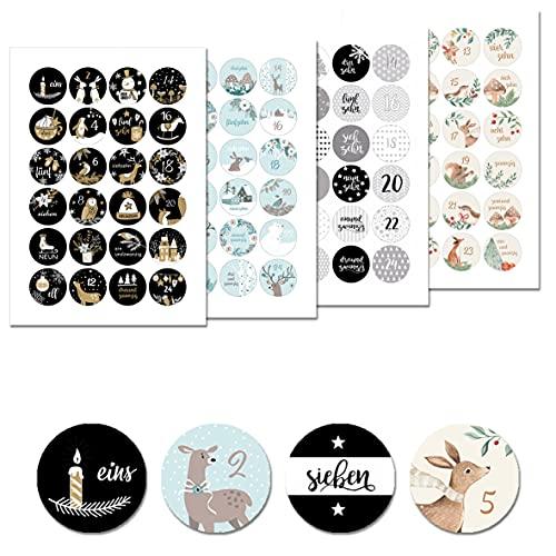 Kreatives Herz - 4 x 24 Adventskalender Aufkleber Zahlen - Sticker (rund/matt/ 40mm) - Adventszahlen perfekt geeignet zum Adventskalender basteln (Set I)