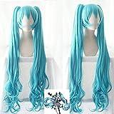 Seupeak Hatsune Miku Wig Magical Mirai Wig Blue 120 cm Largo Curly Synthetic Hair Cosplay Pelucas Removables Chip PonyTails + Tapa de Peluca