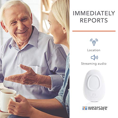 Wearsafe Personal Emergency Response Tag Lifetime Edition - Immediate Panic Button - Medical Response Wearable - One Touch Security Alert System (White)