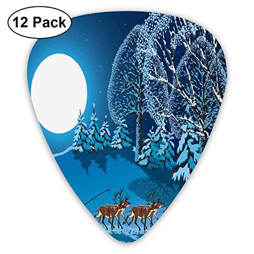 Gitaar Picks12 stks Plectrum (0.46mm-0.96mm), Kerstman In Slee Een Nacht Met Volledige Maan In De Hemel Snowy Winter Xmas Thema Print,Voor Uw Gitaar of Ukulele