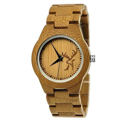 Holzwerk Germany, orologio da polso da donna, realizzato a mano, in legno naturale, analogico, classico, con motivo di cervo