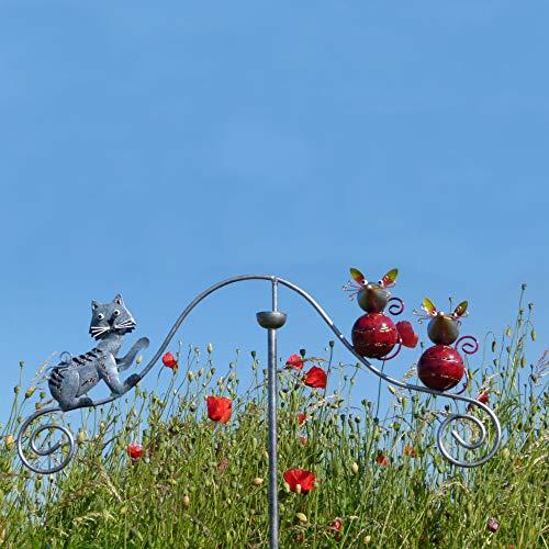 Pommerntraum ® | Windspiel Gartenpendel Unruhe Gartendekoration Gartenstecker Gartenkunst Katze + Mäuse - Tom + Geschwister Jerry AUS Metall - HANDBEMALT