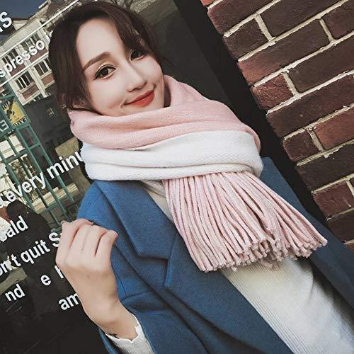 GO&FL Krawattenschal mit Quaste, für Damen, Herbst und Winter, dick, doppelseitig, vielseitig gestreift, zweiseitig verwendbar, warme Farbe, 200 x 55 cm