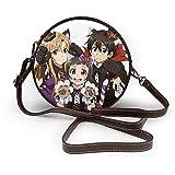 Sword Art Online Cross Body Bag Mujeres Cuero Redondo Bolso de Hombro Pequeño Bolso Para Vacaciones Viajes Diario Niña Adulto
