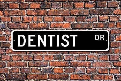 LLAAXXOZ Lustiges Metallschild, Geschenk für Zahnarzt, Zahnarzt, Dekoration für Zahnarzt, Büro, Garage, Zuhause, Hof, Zaun Auffahrt, Straße, Dekoration, 10 x 45,7 cm