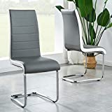 GIZZA Set of 2 Stylish Kitchen Dining Room Chairs with White Decoration Side Grey Leather Seat Chrome Legs