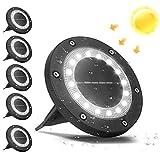 VANPEIN Conjunto de 6 Luz Solar Jardin, 16 LEDs Lawn Lámparas Luces de Tierra Solares Exterior Suelo Jardin IP65 Impermeable Iluminación para Patios Paisaje Driveway Caminos