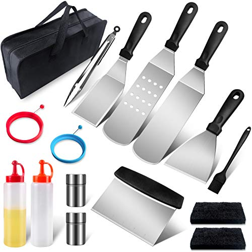Griddle Accessories Tools Kit, Flat Top Grill Accessories with Metal Spatula, Griddle Scraper, Cleaning Kit for Blackstone and Camp Chef, Griddle Accessories Set for Outdoor, Hibachi and Teppanyaki