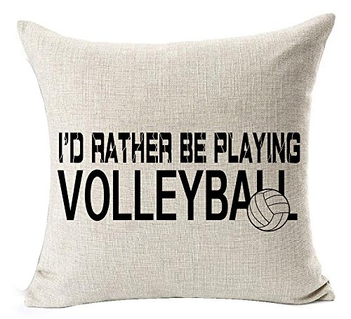 Andreannie Sports Series Black I'd Rather Be Playing Volleyball Design Cotton Linen Home Throw Pillow Case Cushion Cover New Home Office Decorative Square 18 X 18 Inches