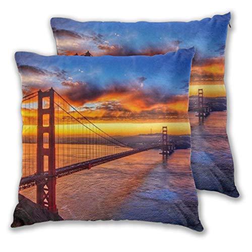 Lewiuzr Fundas de Almohada cuadradas, Puente Golden Gate, Paquete de 2 Fundas de cojín Decorativas, Fundas de Almohada para sofá, Dormitorio, Coche, 40 x 40 cm