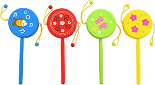 4pcs Wooden Rattle Drum Toy Cartoon Wood Rattle Drum Toy Early Education Toy Portable Rattle Drum Toy for Infants Baby Tod...