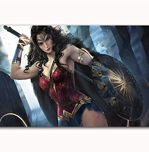 MZCYL Canvas Painting Wall Art Picture Movie Wonder Woman GAL Gadot Comic Film Superhero Posters Print Canvas Painting Sin Marco 40 * 60Cm