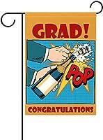 フラッグ 卒業生!おめでとうございます!オープニングシャンパンセレブレーションメモリアルデー卒業生パーティーガーデンフラッグバナー屋外ホームガーデンフラワーポット装飾用 30 x 45cm