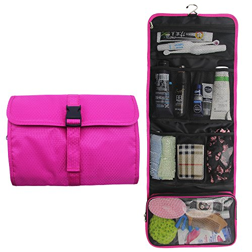 Hanging Travel Toiletry Bag Kit Organizer Cosmetic Makeup Waterproof Wash Bag for Women Girls Travel Case for Bathroom Shower (1 Hot Pink)