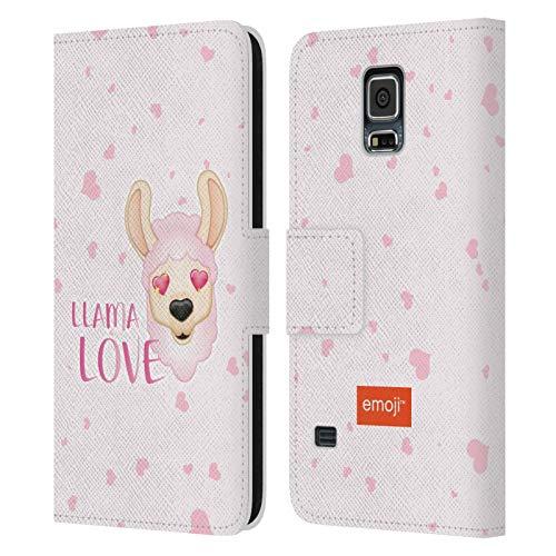 Head Case Designs Oficial Emoji Amor Llamas Carcasa de Cuero Tipo Libro Compatible con Samsung Galaxy S5 / S5 Neo