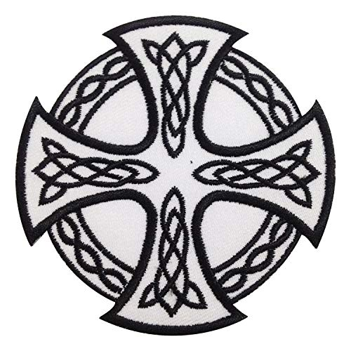 Celtic Patch for Backpack - Celtic Knot Iron on Patch for Jeans - Cool Iron on Patch - Circle Cross Iris Patch - Nice Size to Help Express Your Own Unique Style or Upgrade Your Favorite Items -White
