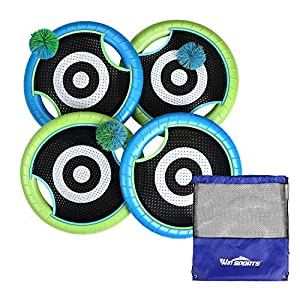 WIn SPORTS Trampoline Paddles Disc,Indoor Outdoor Game for 4 Players,Camping Game for Kids, Adults,Couples, Friends,Family, Includes 4 Rackets, 3 Rubber Koosh Balls,1 Storage Bag