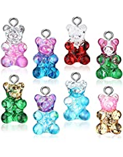 72 Pieces Gummy Charms Bear Pendants Glitter Resin Bear Pendants Cute Candy Bear Necklace Charms Colorful Jewelry Charm Pendants for Children Girls